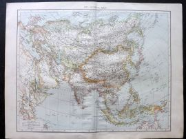 Times 1895 Antique Map. Asia General Map